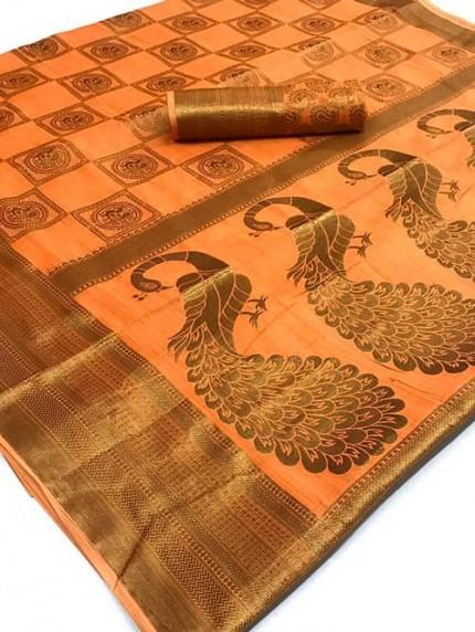 Orange Soft Cotton Mor Weaving Silk Saree - gnp008824
