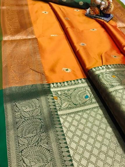 Orange Soft Silk Saree with Attractive Gold Zari weaving - gnp010011