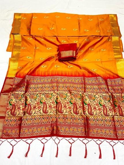 Orange Soft Silk Saree with Beautiful Reach Pallu and Jacquard Weaving - gnp0108840