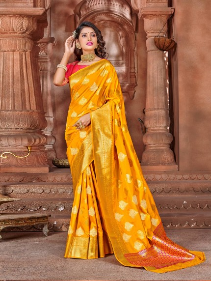 grabandpack orange saree with pink blouse