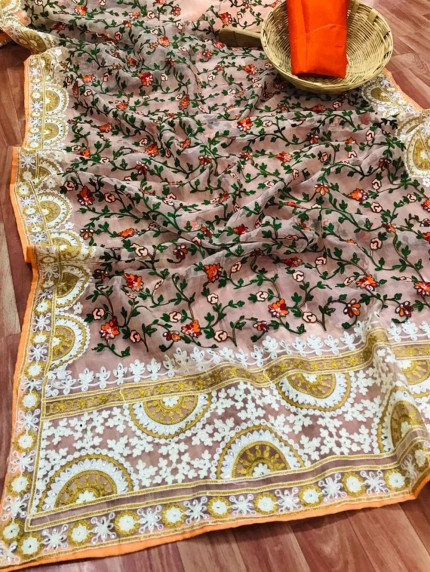 Peach Saree In Organza With Shining Stone And Flower Embroidery with Embroidery Border Design Online - gnp0108807