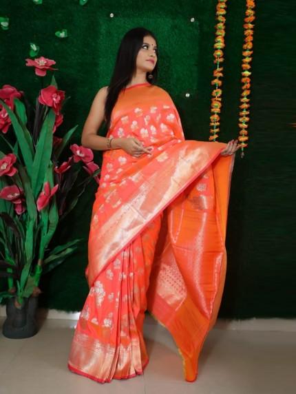 women's Peach Soft silk Traditional Party wear saree
