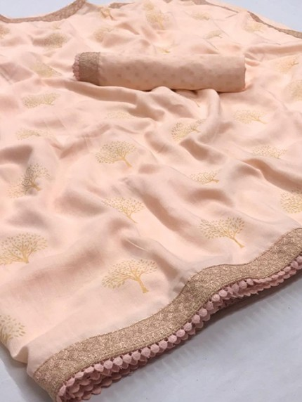 Pink Biba Silk with Gold Print and Lace - gnp008311
