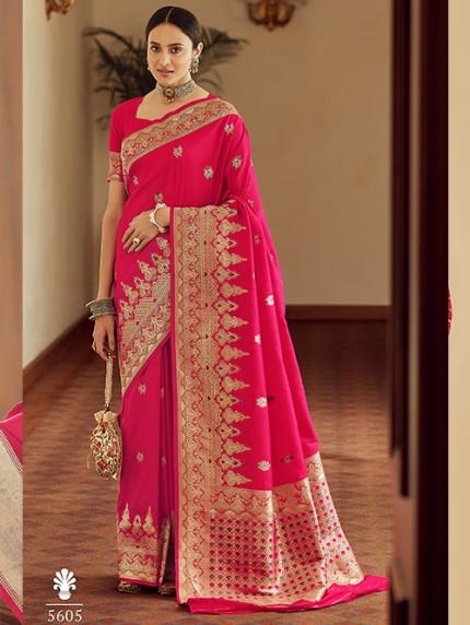 Pink Colored Banarasi Soft Silk Saree - gnp0108763