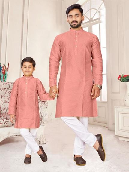 Pink Father and Son Matching Readymade Kurta with Pajama - gnp0108735