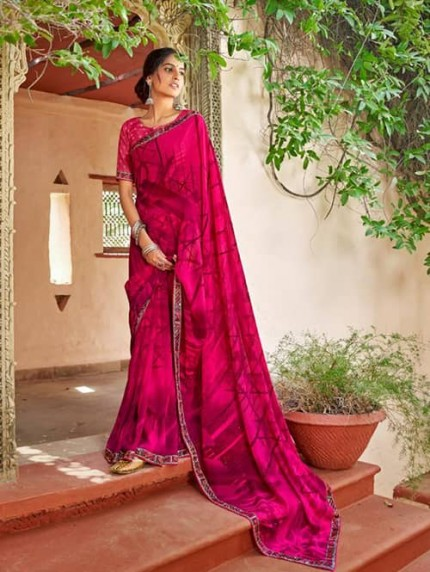Pink Georgette With Pogo Work and Fancy Blouse - gnp009438