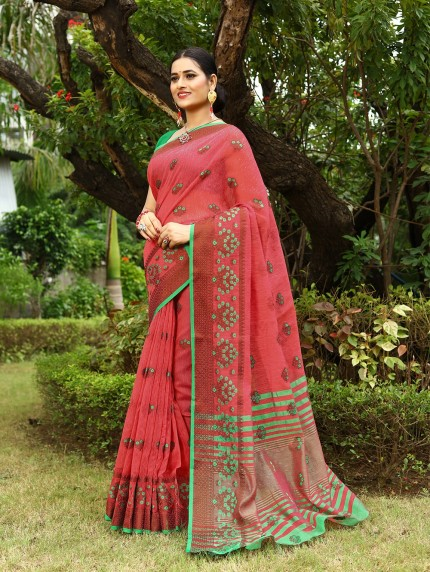 Grab and Pack lenin sarees with embroidery