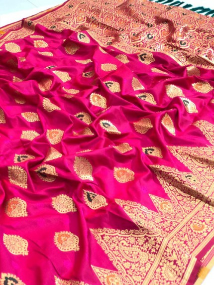 Pink coloured silk saree by grab and pack