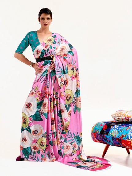 Pink Japanese Silk Digital Printed Saree With Blouse - gnp0108671