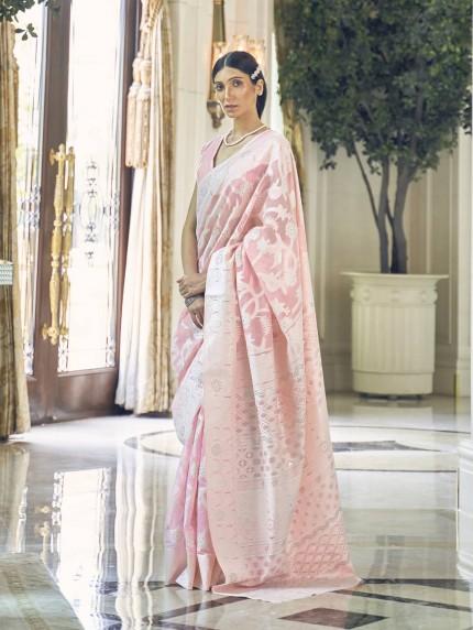 GrabandPack Pink Lucknowi Chikankari work saree