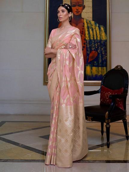 Pink Pure Modal Handloom Weaving Work Saree - gnp0108665