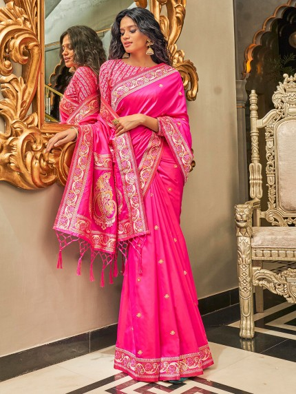 Pink Pure Silk Fabric With Dual Shade Weaving Saree - gnp0108898