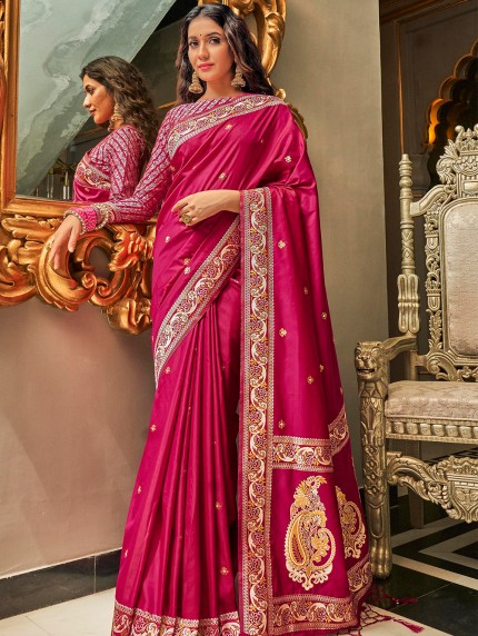 Pink Pure Silk Fabric With Dual Shade Weaving Saree - gnp0108899