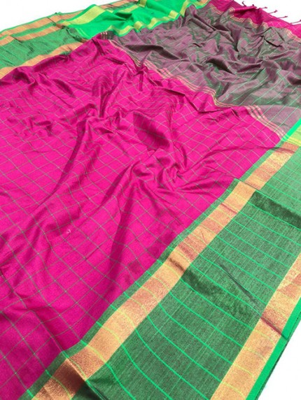 Pink Pure Upada Silk With Gold Kasab Zari Yarn Saree - gnp008348