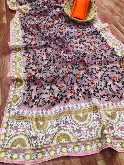 Pink Saree In Organza With Shining Stone And Flower Embroidery with Embroidery Border Design Online - gnp0108808