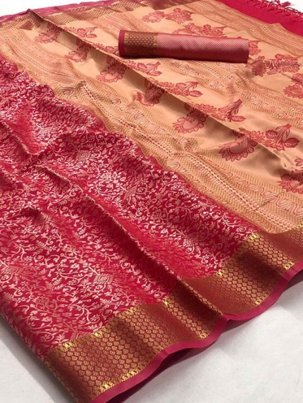 Pink Self Satin Handloom Weaving Silk Saree - gnp008382