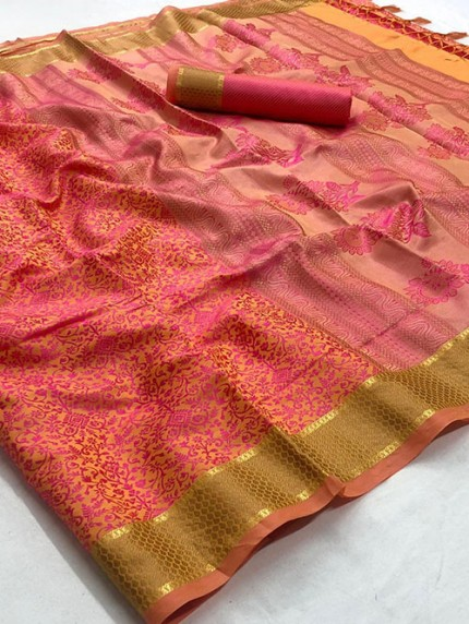 Pink Self Satin Handloom Weaving Silk Saree - gnp008383