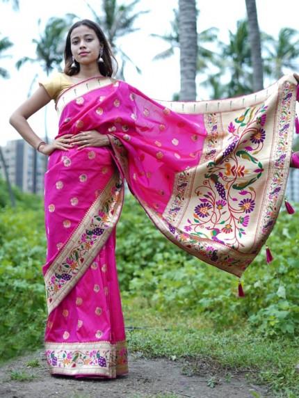 Pink Silk Saree with Full Weaving Border Paithani Saree with Rich Pallu - gnp0108822