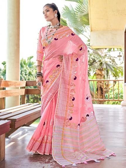 Pink Soft Linen Saree with Beautiful Gotapatti Border - gnp0108659