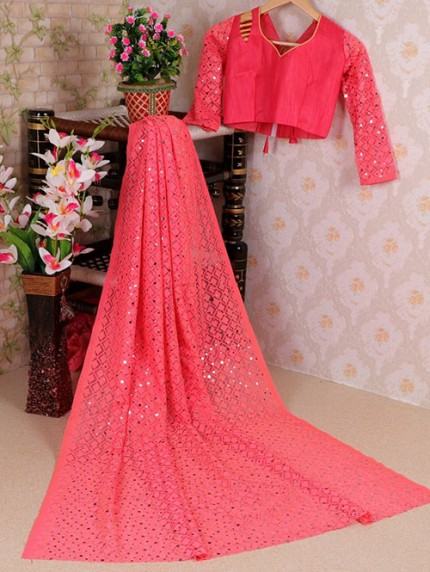 Pink Soft Net Jacquard Saree with Beautiful Sequence Work - gnp008426
