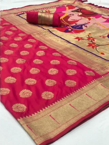 Pink Soft Pure Silk Paithani Weaving Rich Pallu Saree - gnp0108770