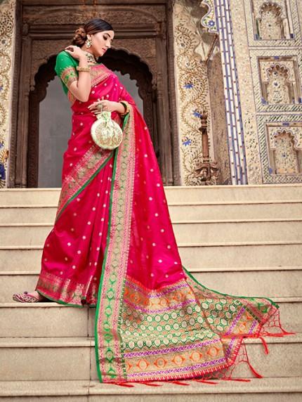 Pink Soft Silk Weaving with Beautiful Designer Border & Pallu Saree - gnp0108754