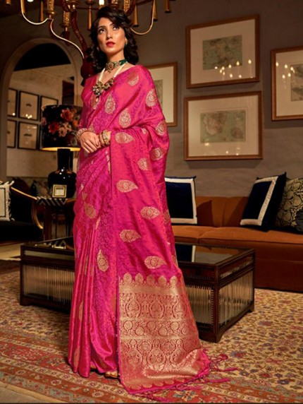 Pink Weaving Soft Satin Silk Saree - gnp008865