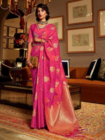 Pink Weaving Soft Satin Silk Saree - gnp008871