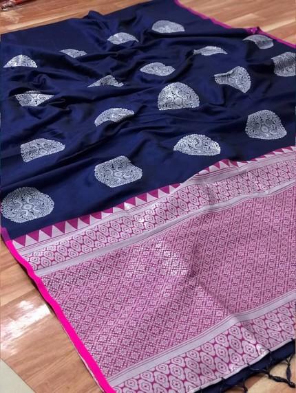 Women's prepossessing Lichi silk saree in Blue