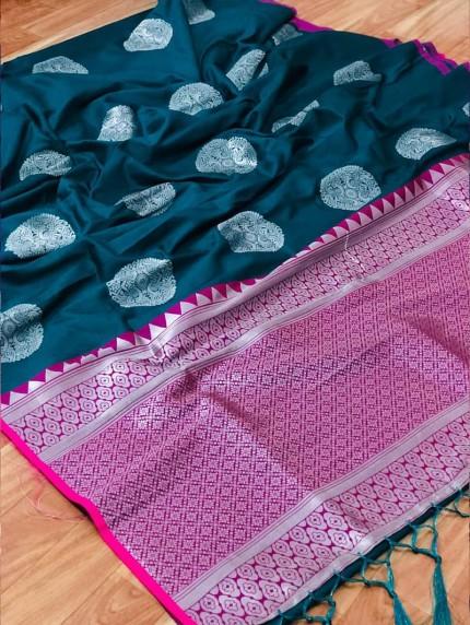 prepossessing Lichi silk saree in Blue