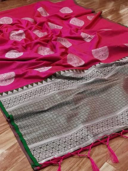 prepossessing Lichi silk saree in Peach