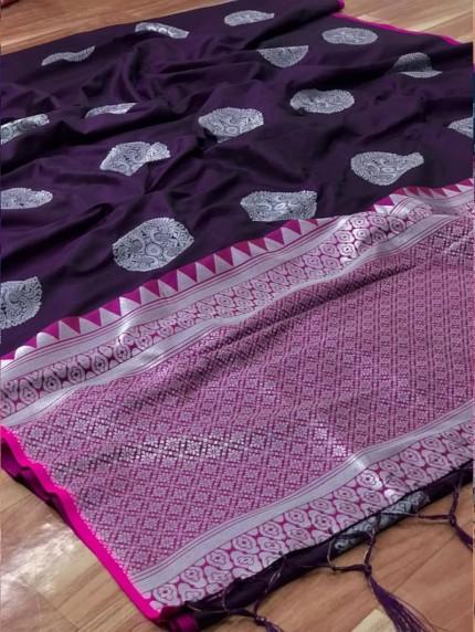 prepossessing Lichi silk saree in Purple