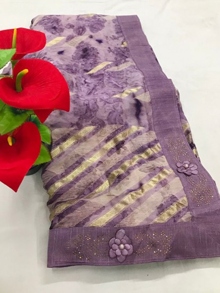 Purple Beautiful Export Quality Imported Original Mashkali Prizim Foil Saree - gnp0108684