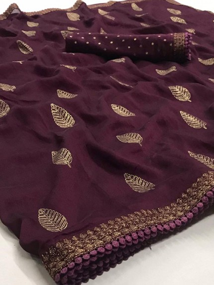 Purple Biba Silk with Gold Print and Lace - gnp008313
