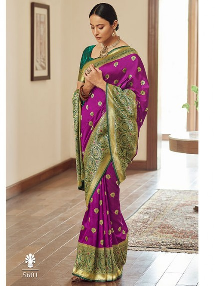 Purple Colored Banarasi Soft Silk Saree - gnp0108765