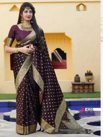 Purple Colored Beautiful Weaving Pure Silk Saree - gnp009072