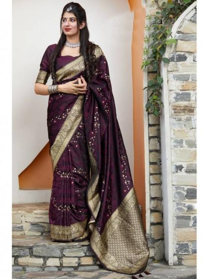 Purple Colored Beautiful Weaving Pure Silk Saree - gnp009073