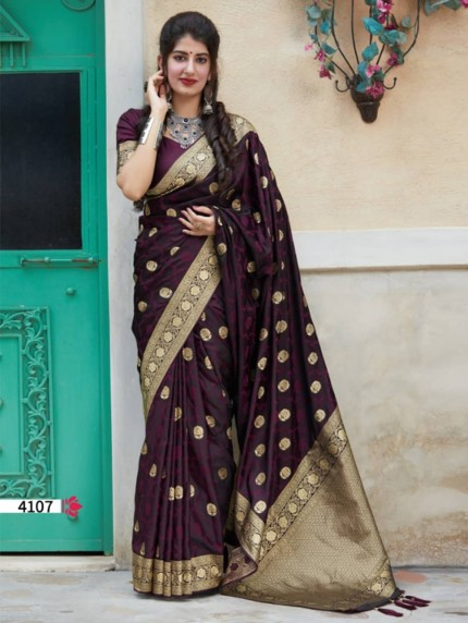 Purple Colored Beautiful Weaving Pure Silk Saree - gnp009074