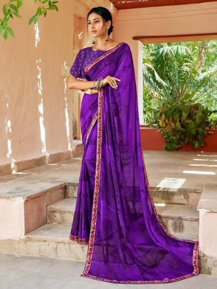 Purple Georgette With Pogo Work and Fancy Blouse - gnp009439