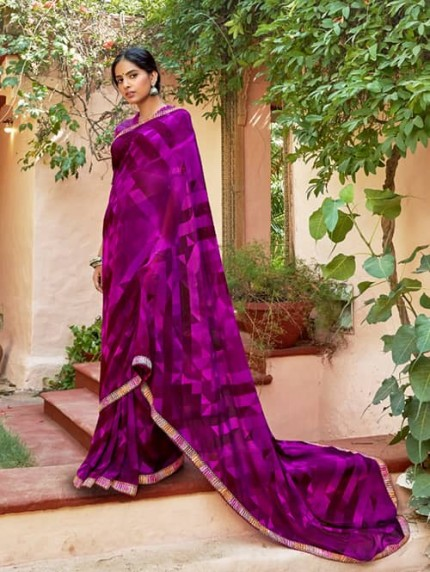 Purple Georgette With Pogo Work and Fancy Blouse - gnp009440