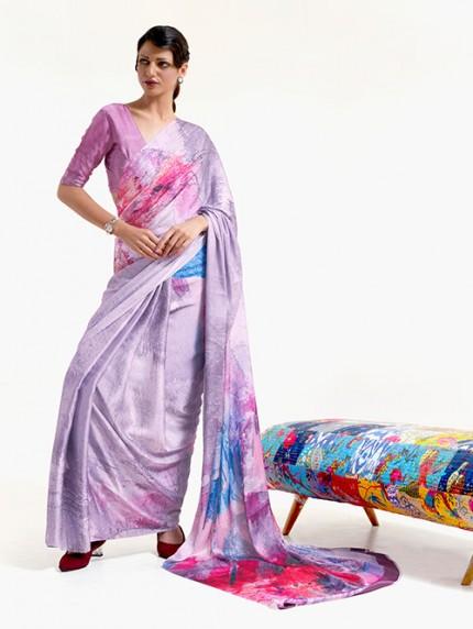 Purple Japanese Silk Digital Printed Saree With Blouse - gnp0108679