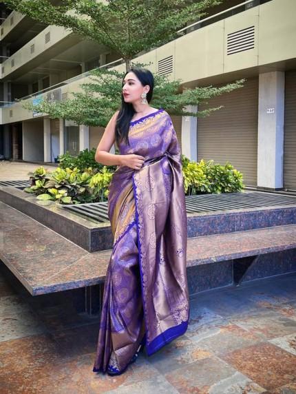 Purple kanjivaram Soft Silk woven pattern saree