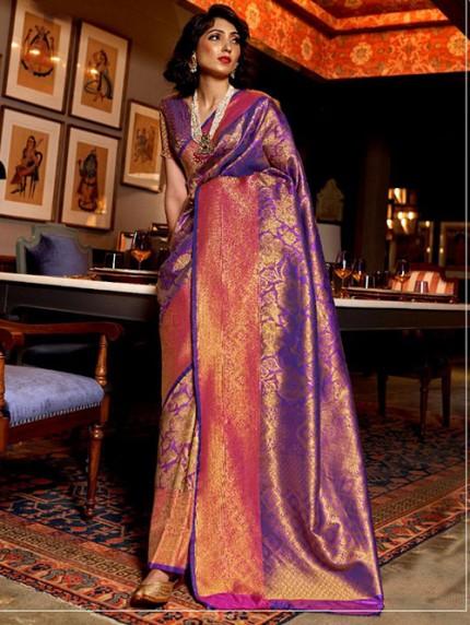 Purple Nylon Dying Silk Saree - gnp008288