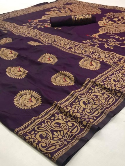 Purple Soft Silk Weaving With Beautiful Pallu Design - gnp009218