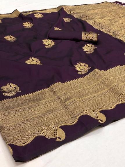 Stylish women's Purple Softy silk Traditional saree