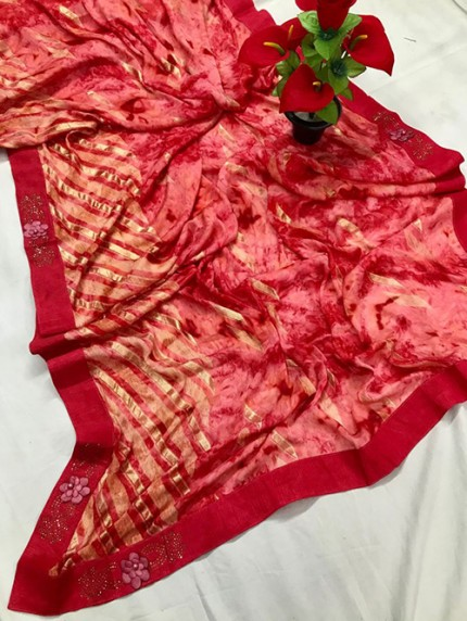 Red Beautiful Export Quality Imported Original Mashkali Prizim Foil Saree - gnp0108685