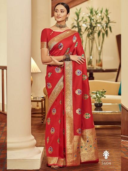 Red Colored Banarasi Soft Silk Saree - gnp0108766