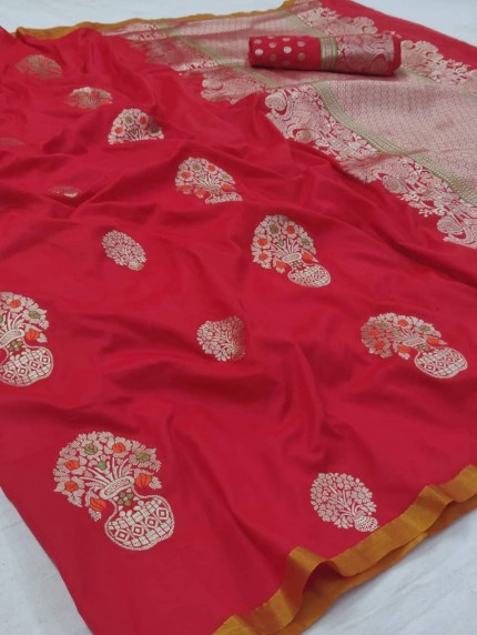 Red Colored Beautiful Soft Silk Saree - gnp009240
