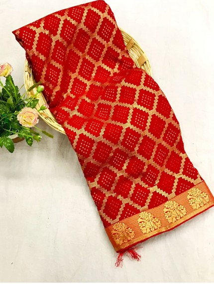 Red Colored Marble Chiffon Printed Saree - gnp0107858 - grabandpack