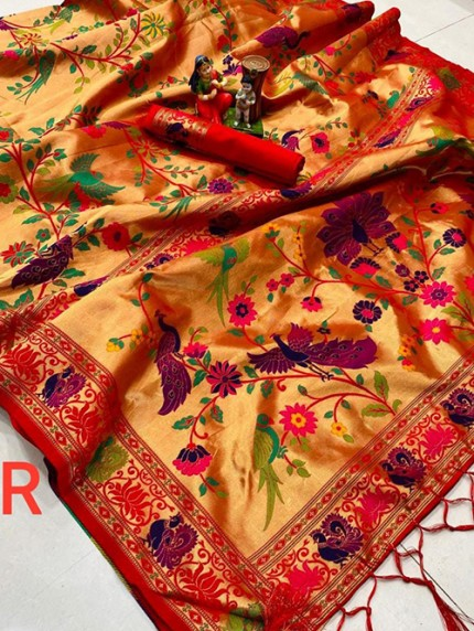 Red Colored Pure Silk Full Body Weaving Saree - gnp0108196